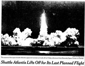 Shutle Atlantis Lifts Off for Its Last Planned Flight, New York Times 15 May 2010.